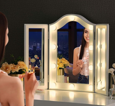 Tri fold makeup mirror with lights vanity table