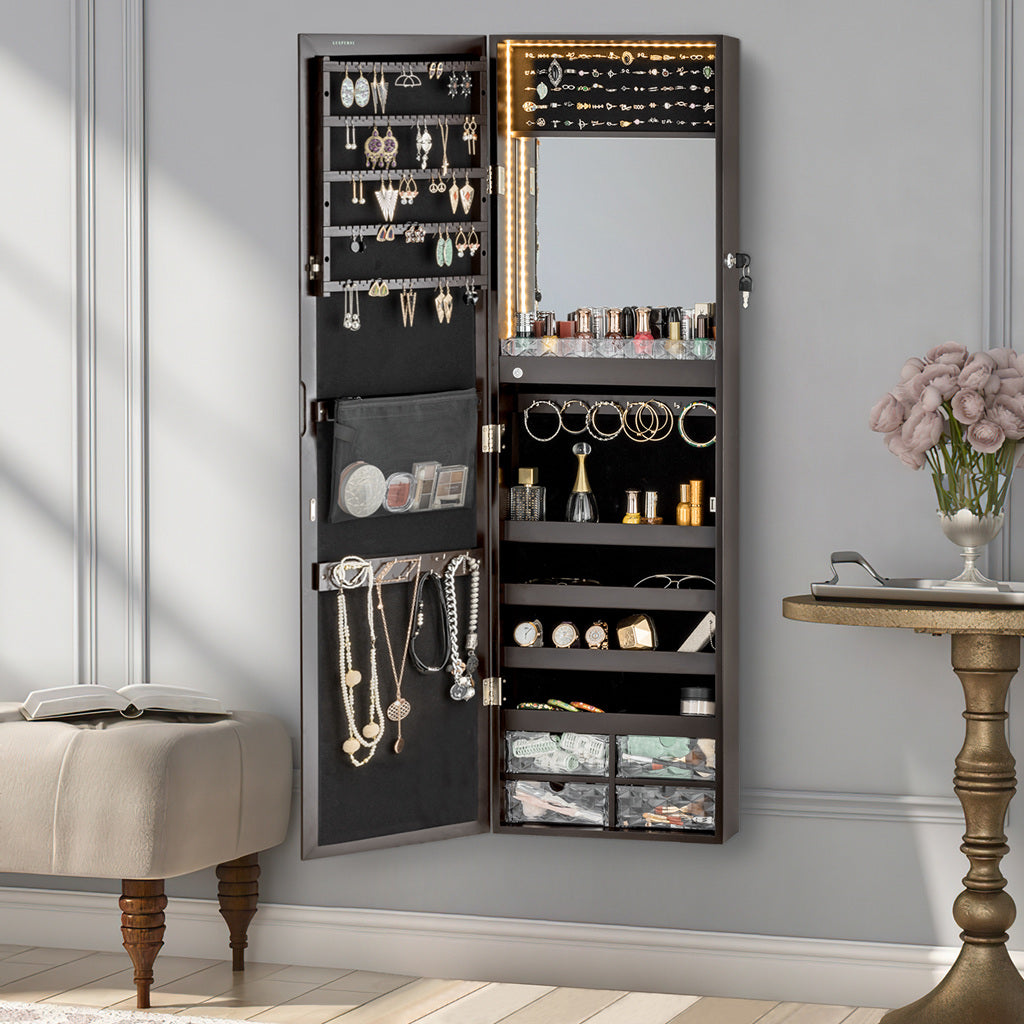 The Well made Luxfurni stella 8 wall mount jewelry cabinet