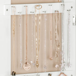 Jewelry Organizer Frameless Mirror Wall Hanging Amoire With LED Lights
