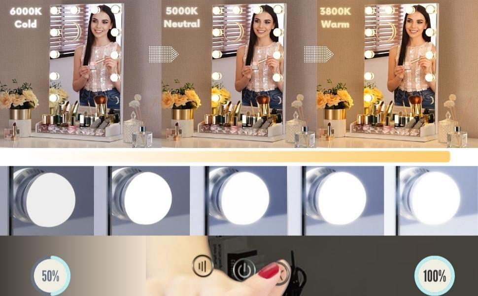 Hollywood Mirror Vanity Table Makeup Dimmable Light Touch Control