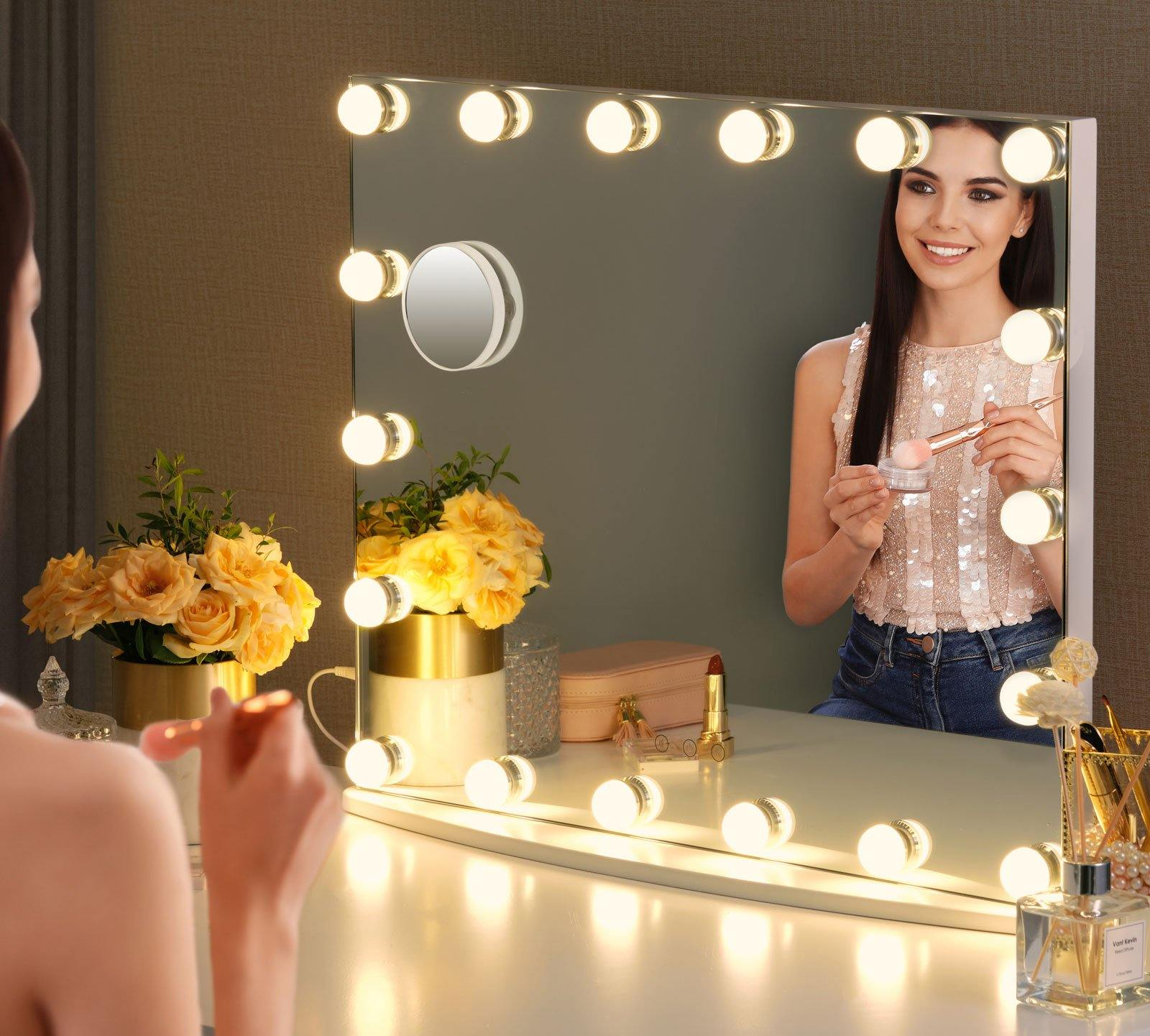 Large Framless Makeup Mirror with LED lights