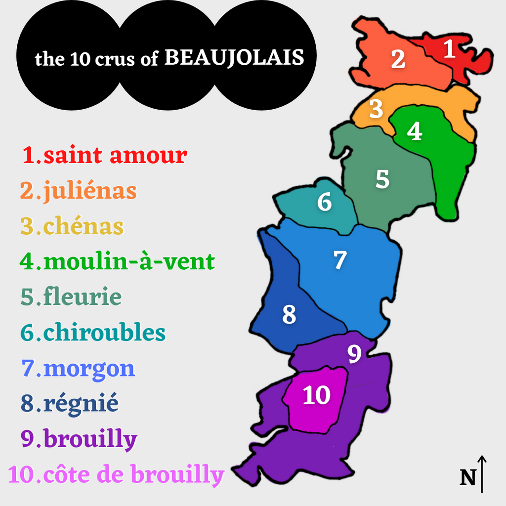 Color map of the 10 Crus of Beaujolais