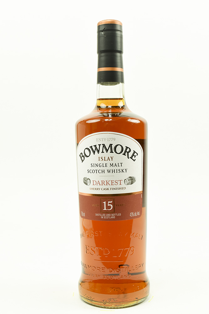 "Bottle of Bowmore, ""Darkest"", Single Malt Scotch, 15 Year-Flatiron Wines & Spirits - New York"