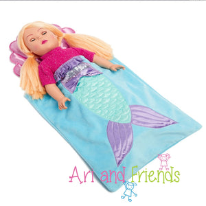 Ari and Friends Mermaid Sleeping Bag Fits 18 inch Dolls