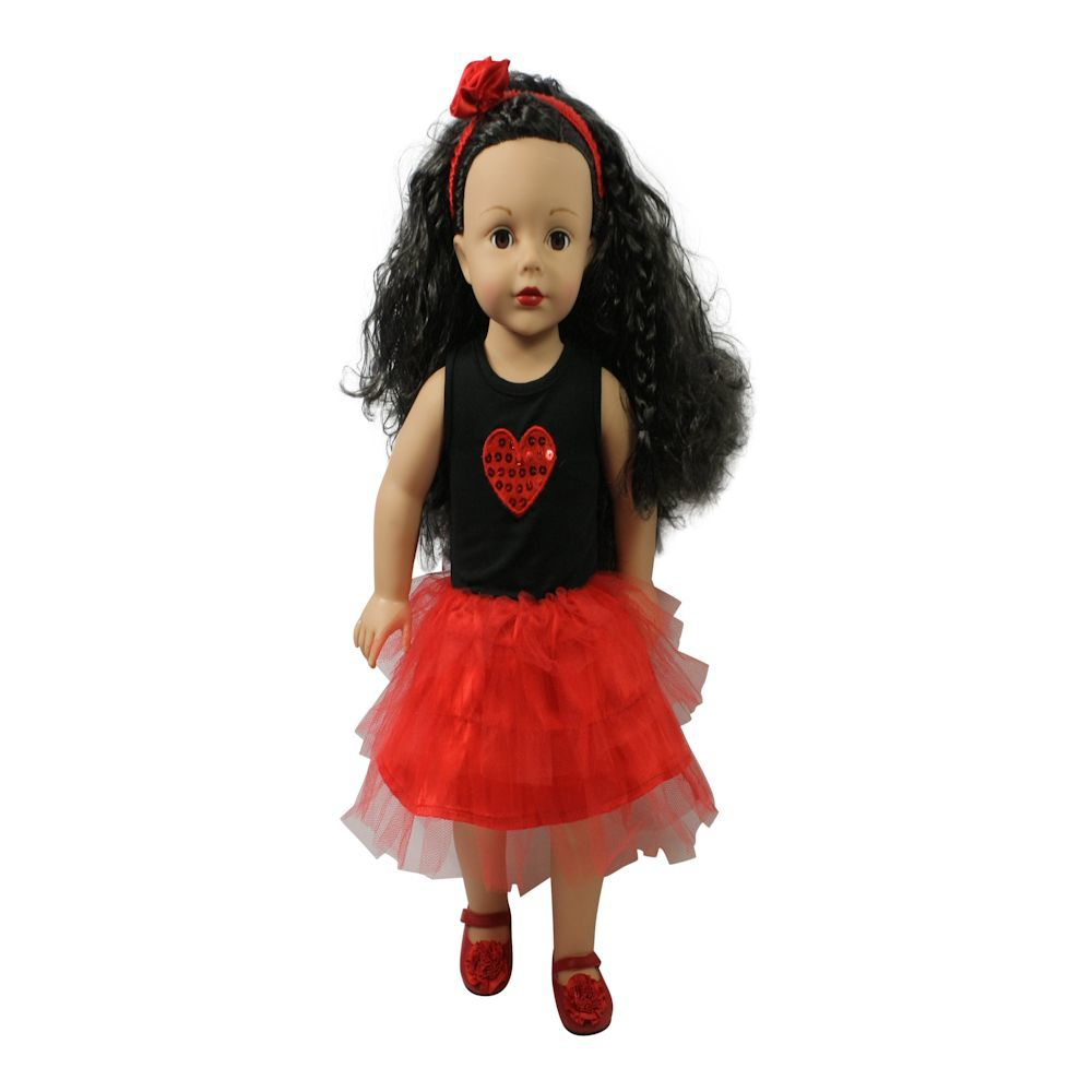 Arianna I Love You Beyond Dress & Headband - Red Fits 18 Inch Dolls