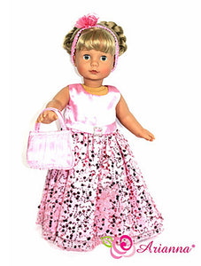 Arianna Ooh! All that Pink Dress, Headband & Handbag Fits 18 Inch Dolls