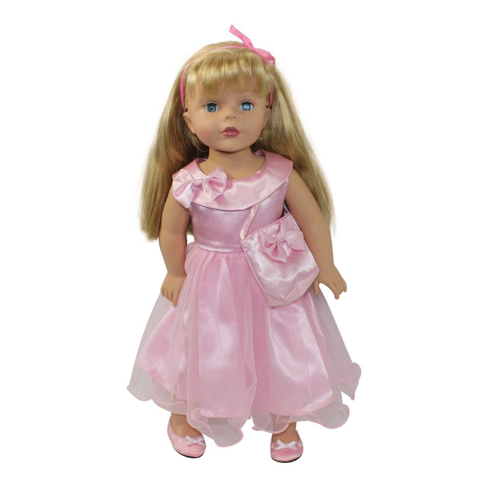 Arianna Pink Curtsy Bow Dress & Handbag  Fits American Girl 18 inch Doll