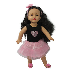 Arianna I Love You Beyond Dress & Headband - Pink Fits 18 Inch Dolls