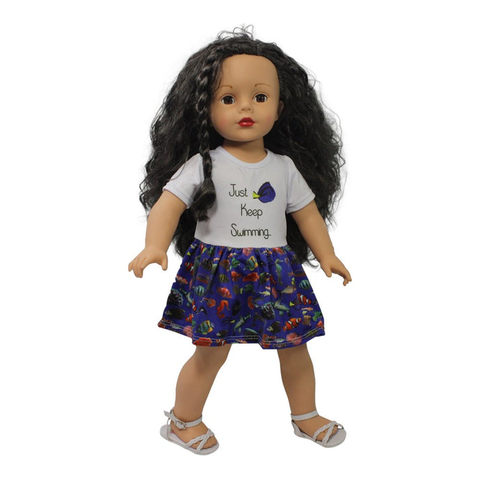 Ari and Friends  Just Keep Swimming Dress fits 18 inch Dolls