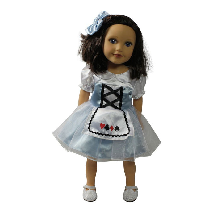 Arianna Alice in Wonderland Dress Hairbow Doll Costume Fits 18 inch American Doll Clothes