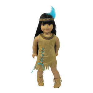 Arianna Native American Indian Dress, Boots, & Headband with Feather Fits 18 inch American Doll Clothes