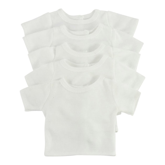 Arianna PACK of 6 White Cotton Tee Shirts Fits 18 inch Dolls