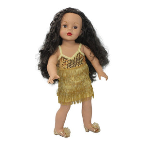 Arianna Gold Flapper Dress Headband w/ Feather Boa Fits 18 inch American Girl Dolls