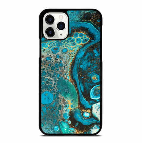 BLUE CREATIVE ABSTRACT MARBLEIZED EFFECT COLORS iPhone 11 Pro Case Cover