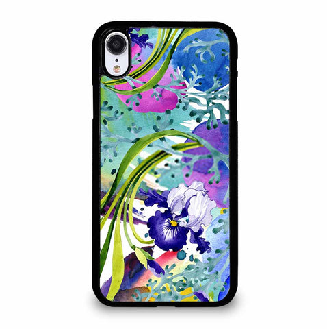 BLUE IRIS FLORAL BOTANICAL FLOWER iPhone XR Case Cover