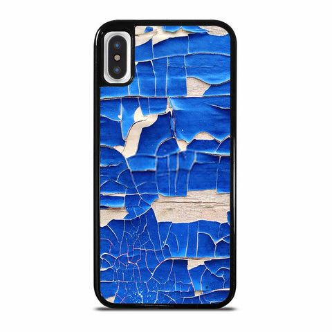BLUE PEELING OFF PAINT ON WHITE WALL iPhone X/XS Case Cover