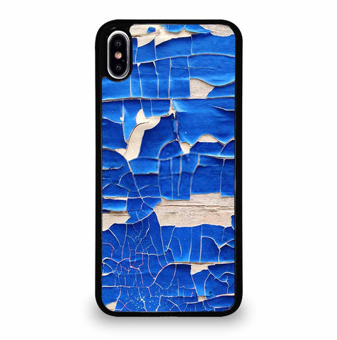 BLUE PEELING OFF PAINT ON WHITE WALL iPhone XS Max Case