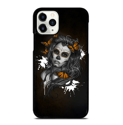 Day of The Dead Sugar Skull Girl Tattoo for iPhone 11 Pro Case Cover
