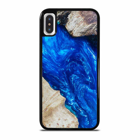 EPOXY CASTING STABILIZING ABSTRACT BLUE WOOD iPhone X and XS Case
