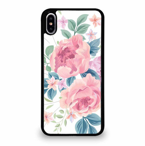 FLOWER ROSE WHITE BACKGROUND PATTERN iPhone XS Max Case Cover