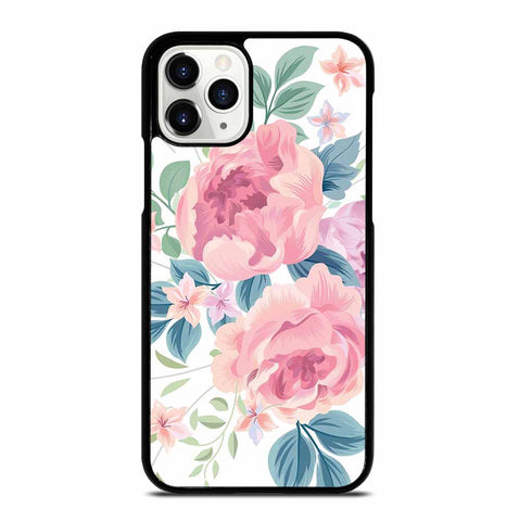 FLOWER ROSE WHITE BACKGROUND PATTERN iPhone 11 Pro Case Cover