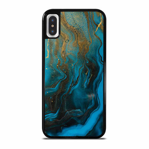 GOLD AND BLUE INCLUSION ACRYLIC FLUID ART AQUAMARINE WAVES iPhone X and XS Case Cover