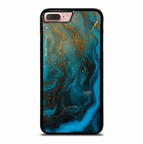 GOLD AND BLUE INCLUSION ACRYLIC FLUID ART AQUAMARINE WAVES iPhone 7 / 8 Plus Case