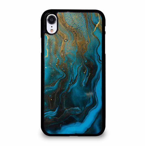 GOLD AND BLUE INCLUSION ACRYLIC FLUID ART AQUAMARINE WAVES iPhone XR Case Cover