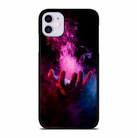 HAND INSIDE COLORFUL SMOKE ON BLACK iPhone 11 Case Cover