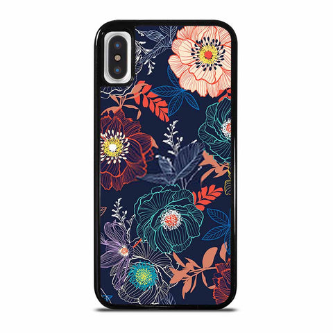 LINE HAND SKETCH BLOOMING GARDEN FLOWER CONTRAST COLORFUL iPhone X/XS Case Cover