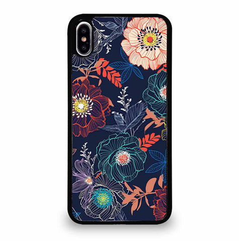 LINE HAND SKETCH BLOOMING GARDEN FLOWER CONTRAST COLORFUL iPhone XS Max Case