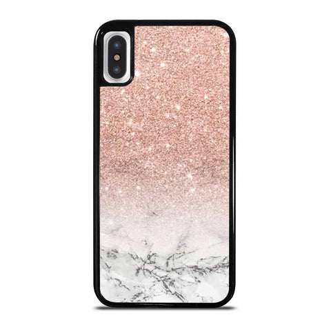 MODERN FAUX ROSE PINK GLITTER OMBRE WHITE MARBLE iPhone X and XS Case Cover