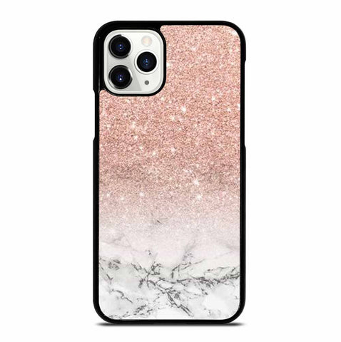 MODERN FAUX ROSE PINK GLITTER OMBRE WHITE MARBLE iPhone 11 Pro Case