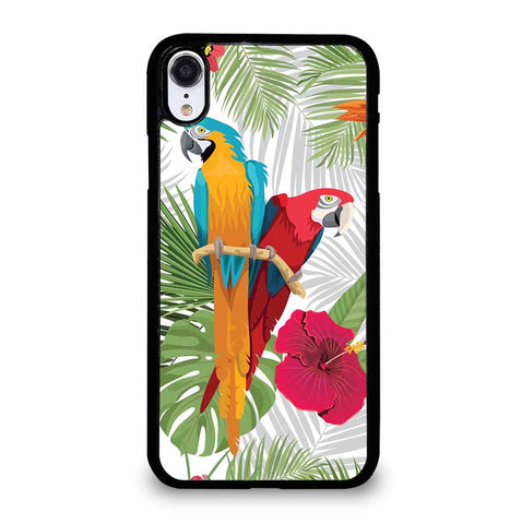 PARROTS AND TROPICAL FLOWERS iPhone XR Case Cover
