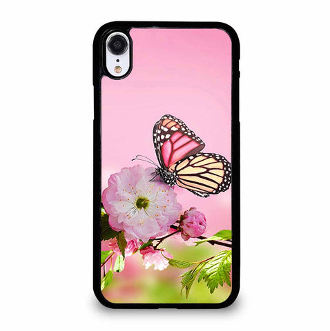 PINK FLOWER AND BUTTERFLY iPhone XR Case Cover