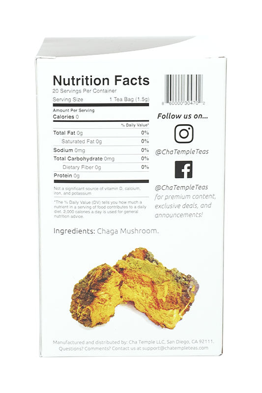 Cha Temple Chaga Mushroom Tea Bags Ingredient List