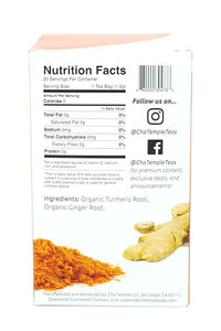 Cha Temple Organic Turmeric Ginger Tea Ingredient List