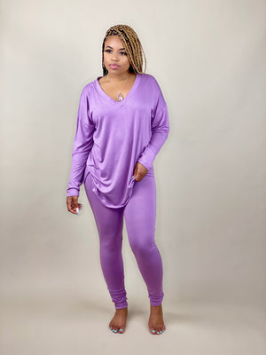 lavender v-neck two piece pants set