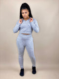 women's gray jogger set