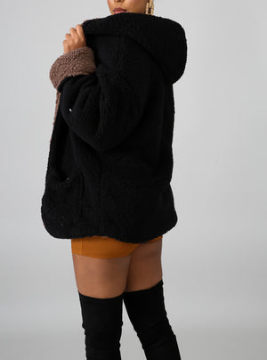 women's black sherpa coat