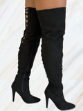 Stacy Thigh High Boots (Black)