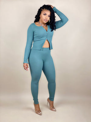 ribbed zip pant set