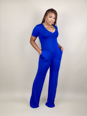 blue flare bell bottom jumpsuit