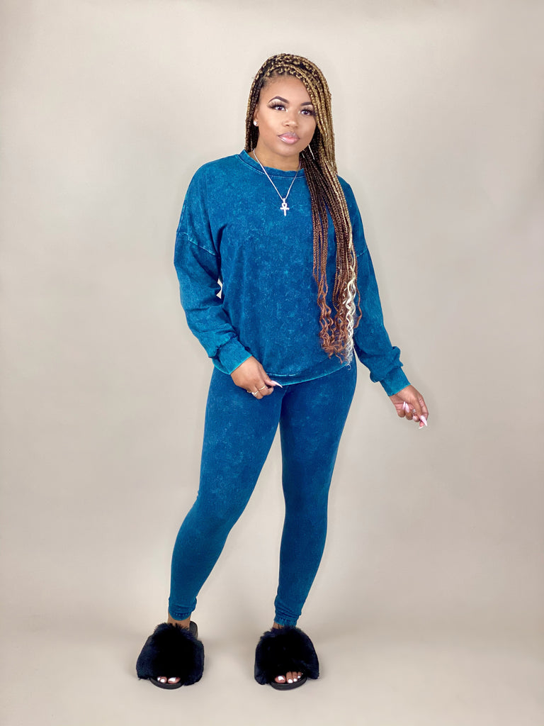 women's blue mineral wash pullover set with slides