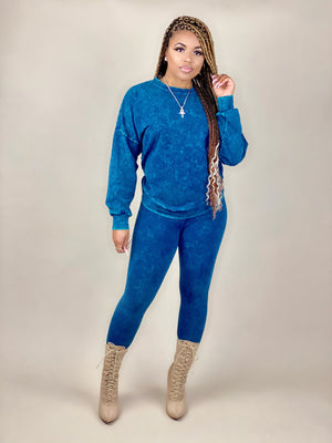 women's blue mineral wash pullover set