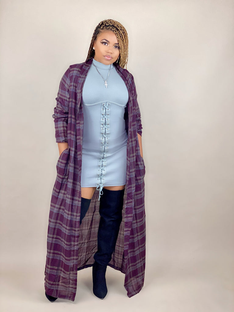 wine color, plaid duster jacket