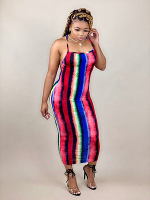 colorful midi dress