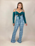 women's olive green plaid jumpsuit