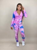 pink and blue tie dye tracksuit set