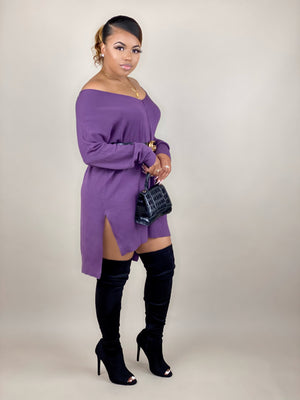 purple sweater dress